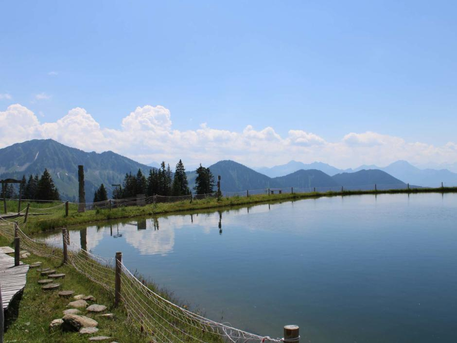Sie sehen den kleinen See bei der Falba Stuba in Laterns-Gapfohl. Die JUFA Hotels bieten erholsamen Urlaub für die ganze Familie.