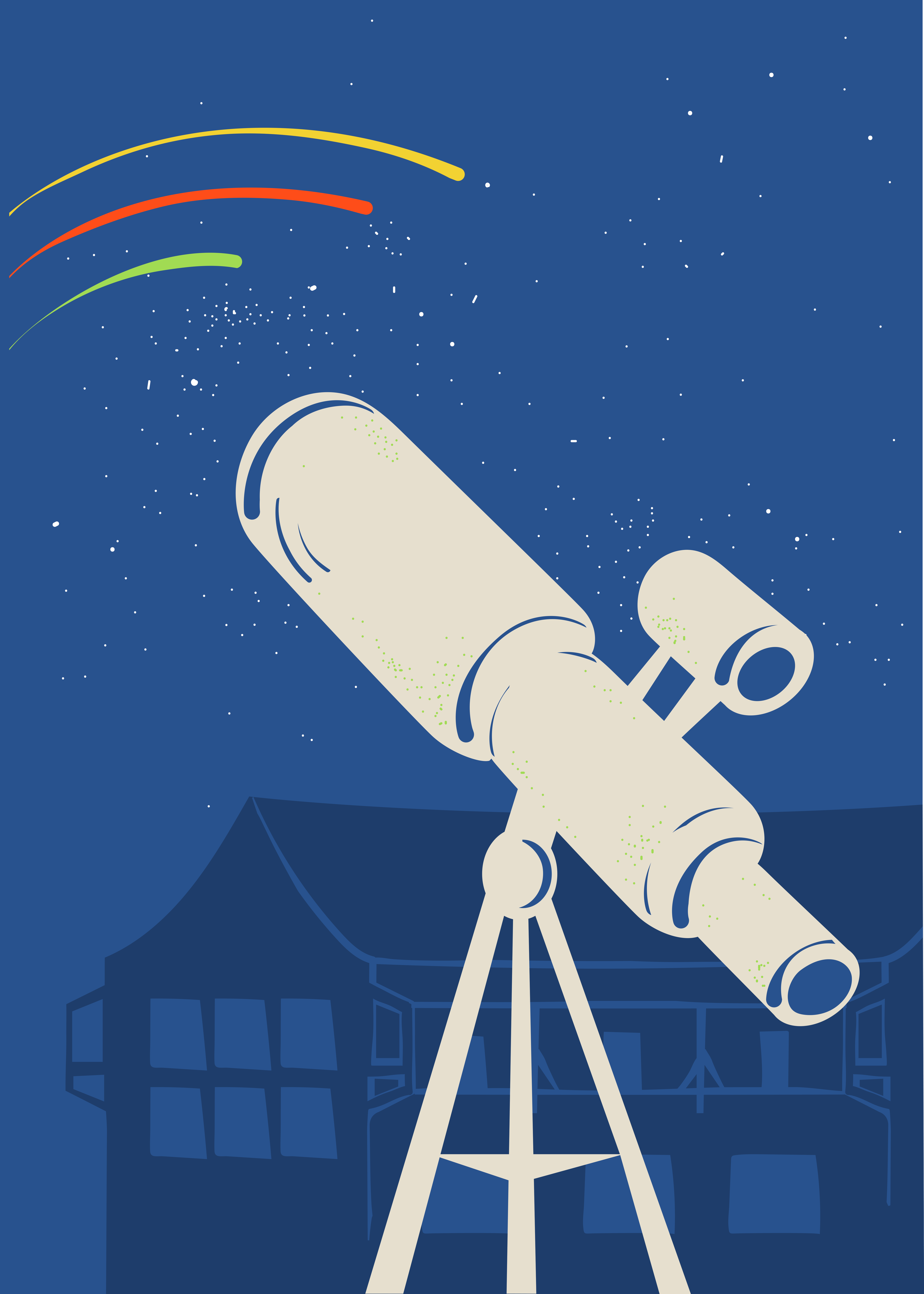 Sie sehen ein Teleskop und Sternschnuppen. Das JUFA Hotel Nördlingen im Ries beitet erlebnisreichen Urlaub.