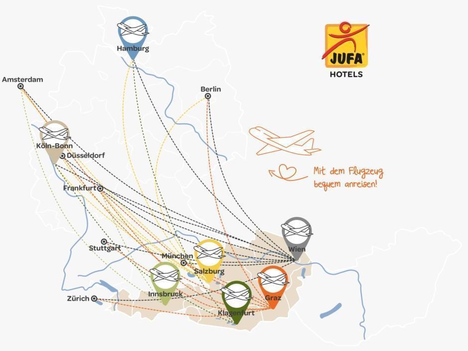 Sie sehen die Übersichtskarte für Ihre Flugzeug-Anreise zu den JUFA Hotels. JUFA Hotels bietet kinderfreundlichen und erlebnisreichen Urlaub für die ganze Familie.