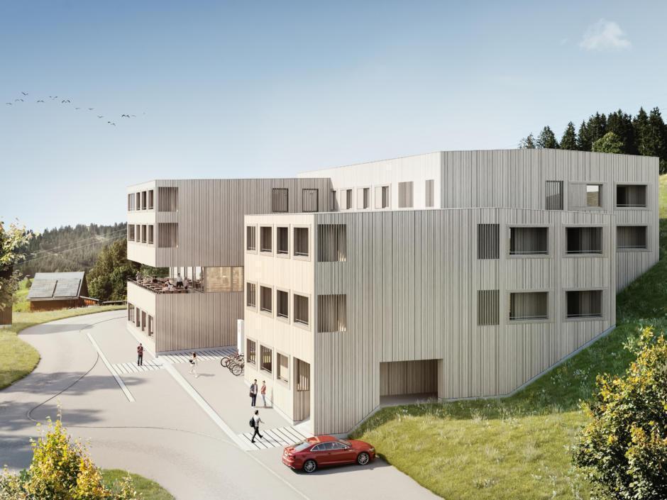 Sie sehen eine Visualisierung des neuen JUFA Hotel Laterns – Klangholzhus in Farbe, das im Dezember 2020 fertiggestellt werden soll. JUFA Hotels bietet Ihnen den Ort für erlebnisreichen Natururlaub für die ganze Familie.