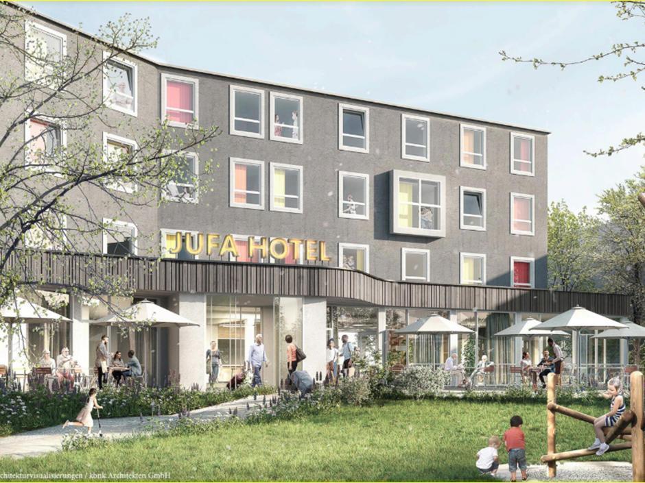 Sie sehen eine Visualisierung des JUFA Hotel Salzburg City nach dem Umbau im Jahr 2020. JUFA Hotels bietet Ihnen den Ort für erlebnisreichen Natururlaub für die ganze Familie.