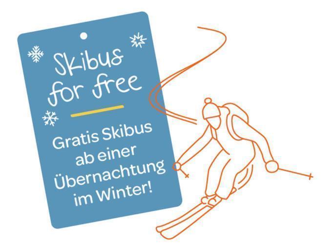 Sie sehen eine Illustration zum Thema gratis Skibus. JUFA Hotels bietet erholsamen Familienurlaub und einen unvergesslichen Winterurlaub.