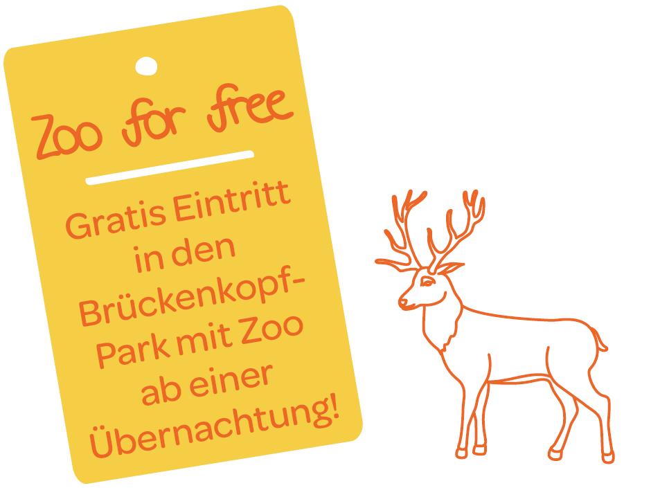 Sie sehen eine Illustration zum Thema Zoo for free. Gratis Eintritt in den Brückenkopf-Park mit Zoo ab einer Übernachtung! JUFA Hotels bietet erholsamen Familienurlaub und einen unvergesslichen Winterurlaub.