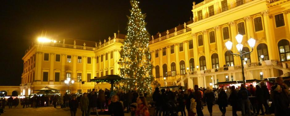 Sie sehen den Weihnachtsmarkt Schönbrunn in Wien mit dem Schloss. JUFA Hotels bietet erholsamen Familienurlaub und einen unvergesslichen Winterurlaub.