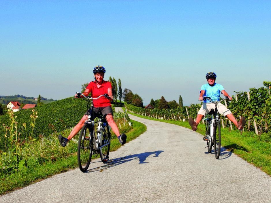 Sie sehen zwei Zwei Radfahrer an der südsteirischen Weinstrasse in Leibnitz.JUFA Hotels bietet kinderfreundlichen und erlebnisreichen Urlaub für die ganze Familie.